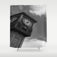 clock Shower Curtains featuring Clock by Jennifer Kimberly
