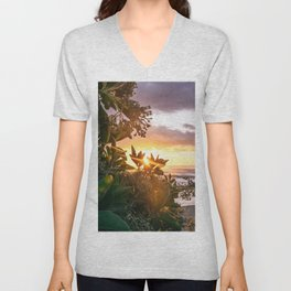 Kauai Hawaii Sunrise | Tropical Beach Nature Ocean Coastal Travel Photography Print Unisex V-Neck