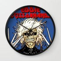 eddie vedder Wall Clocks featuring Eddie Scissorhands by Azhmodai