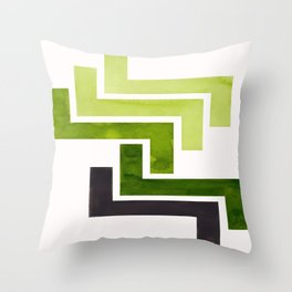 Sap Green Pattern Mid-century Modern Simple Geometric Pattern Watercolor Minimalist Art Squares Throw Pillow