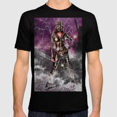Leather warrior girl SMALL Black Mens Fitted Tee