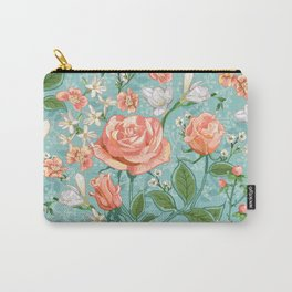 Peach Rose Chintz Pattern Carry-All Pouch