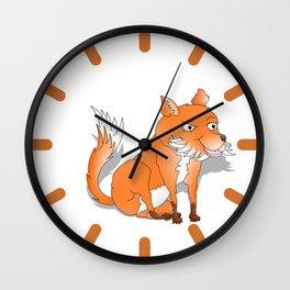 Happy Cartoon Fox Wall Clock