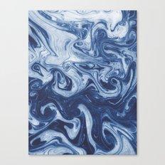 Yutaka - spilled ink marbled paper marbling swirl india ink minimal modern blue indigo pattern Canvas Print