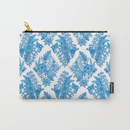 Blue Floral Diamonds Carry-All Pouch