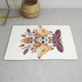 Foxes Hummingbird Skulls Autumn Artwork Rug