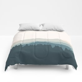 Daybreak - Abstract Mountain View Landscape  (Pink/ Green/ Blue) Comforters