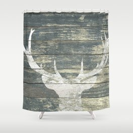 Rustic White Deer Silhouette Teal Wood A311 Shower Curtain