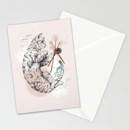 Cat and Dandelion Stationery Cards