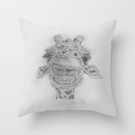 Pencil drawing of a giraffe eating Throw Pillow