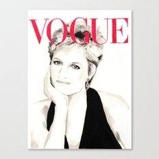 Vogue Magazine Cover. Lady Diana Spencer. Fashion Illustration Canvas Print