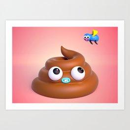 """BFFLs """"Fly & Poop"""" 💩🐝💕 Art Print"""