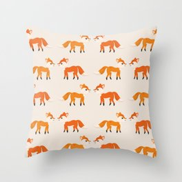 Cute Kissing Fox Couple Illustration with Light Background Throw Pillow