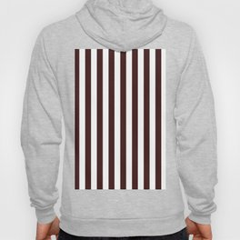 Narrow Vertical Stripes - White and Dark Sienna Brown Hoody