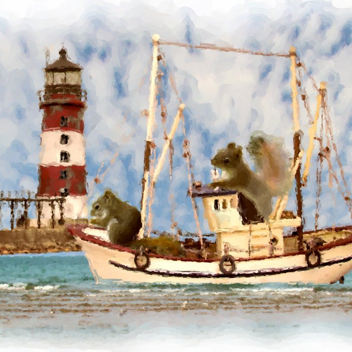 Squirrels Boat Lighthouse Child's Room Animal Art A347 Comforters