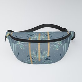 Tropical Art Deco 1.1a Blue, Green, Gold Fanny Pack