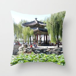 Ancient Imperial Garden of the Qing Dynasty | Ancien Jardin Impérial de la dynasty de Qings Throw Pillow