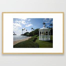 GAZEBO BY THE BEACH Framed Art Print