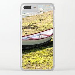 Boat stranded at low tide Clear iPhone Case