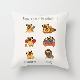 New Years Resolutions with The Pug Throw Pillow