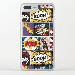 Modern Comic Book Superhero Pattern Color Colour Cartoon Lichtenstein Pop Art Clear iPhone Case