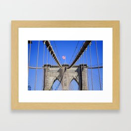 American Flag at the Brooklyn Bridge Framed Art Print
