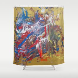 Intuitive abstract painting modern contemporary art by Ksavera Shower Curtain