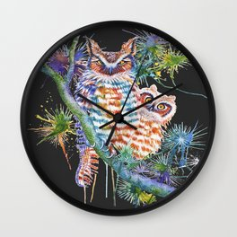 Momma and Baby Owls Dark Background Wall Clock