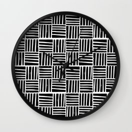 Linocut black and white minimal pattern stripes criss cross squares Wall Clock