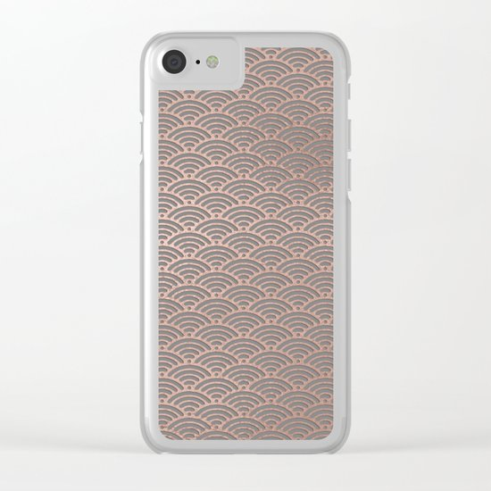 Rosegold mermaid pattern-on grey backround Clear iPhone Case