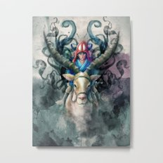 Ashitaka Demon Watercolor Digital Painting Metal Print
