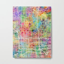 Phoenix Arizona City Map Metal Print