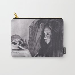 Realism Charcoal Drawing of Sexy Dark Queen in Veil with Skull Carry-All Pouch