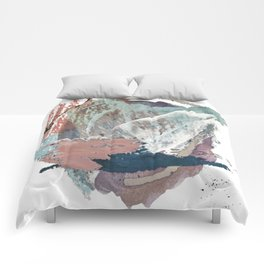 In the Clouds: a minimal mixed media piece in blues, pinks, white, and purple Comforters
