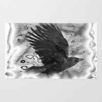 crow Area & Throw Rugs featuring crow by Vector Art