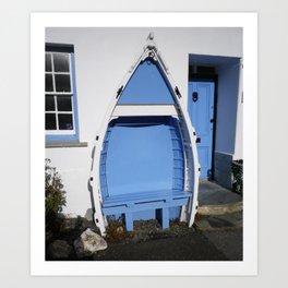 BLUE BOAT BENCH SEAT BOSCASTLE CORNWALL Art Print