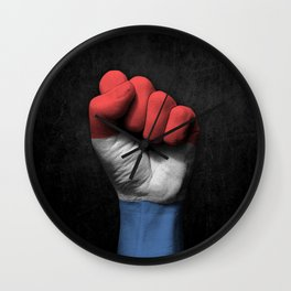 Dutch Flag on a Raised Clenched Fist Wall Clock