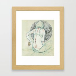 The lady and the bird. Framed Art Print