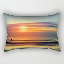 Bright Red - seascape sunset abstract Rectangular Pillow
