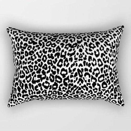 Leopard Pattern (Black and White) Rectangular Pillow