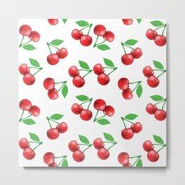 Cherries Pattern Cherry Print Fruit Pattern Metal Print