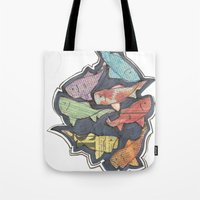 newspaper Tote Bags featuring Newspaper Fish by Kate Allison