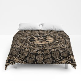 Hunab Ku Gold on black #4 Comforters