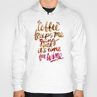 wine Hoodies featuring Coffee & Wine – Brown & Magenta Ombré by Cat Coquillette