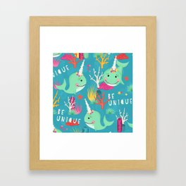 Narwhal Be Unique Pattern Framed Art Print