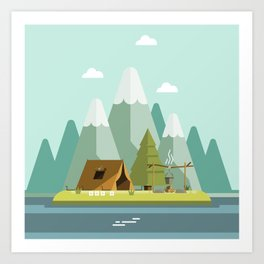 Mountain campfire Art Print