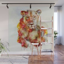 Resting Lioness Watercolor Painting Wall Mural