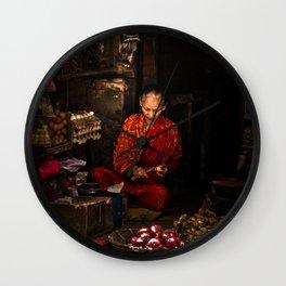 Vegetable shop in Kathmandu, Nepal Wall Clock