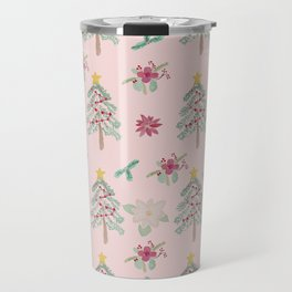 Christmas Pattern Pink Travel Mug