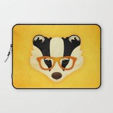 Hipster Badger: Gold Laptop Sleeve